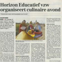 Horizon Educatief vzw organiseert culinaire avond (28.2.14)